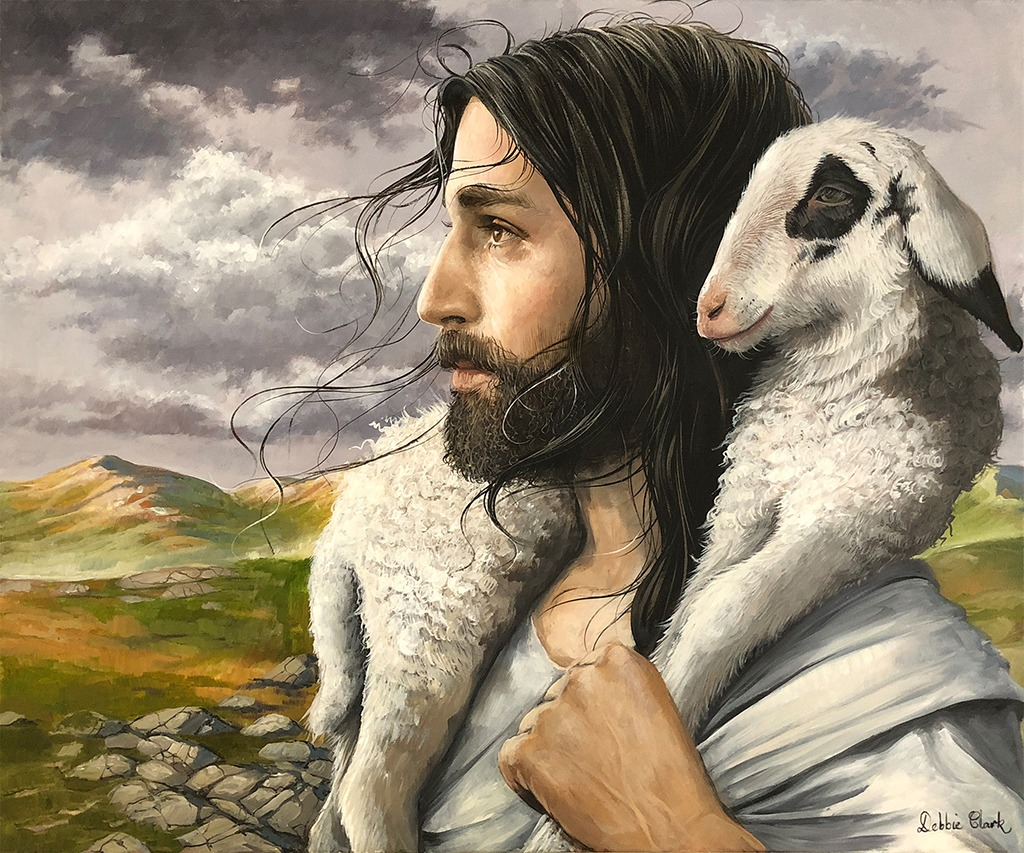 Jesus and a Lamb Painting
