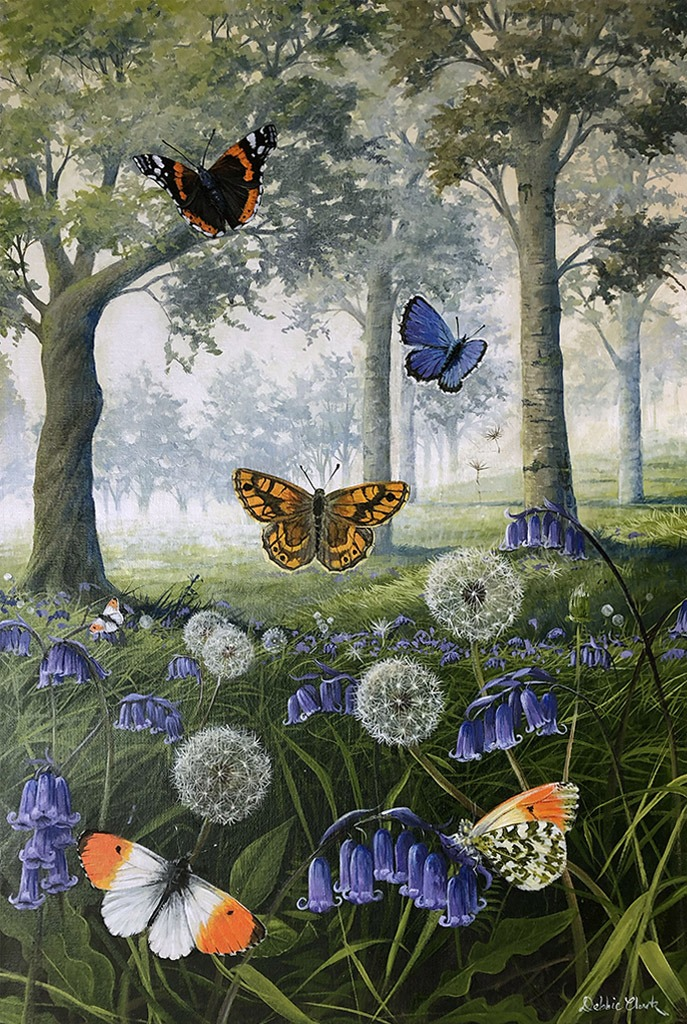 butterflies and bluebells painting