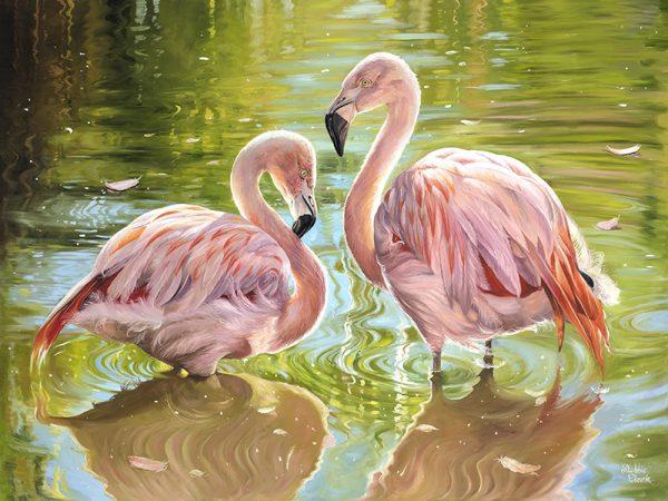 Flamingos in Love painting