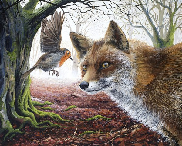 Fox and Robin Painting