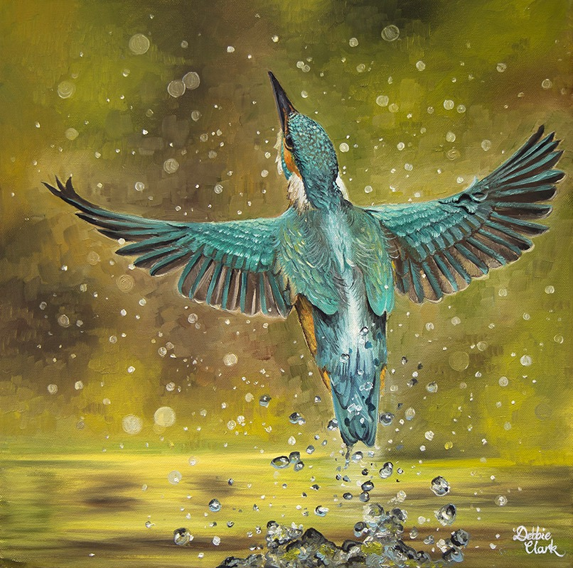 Flying Kingfisher Painting