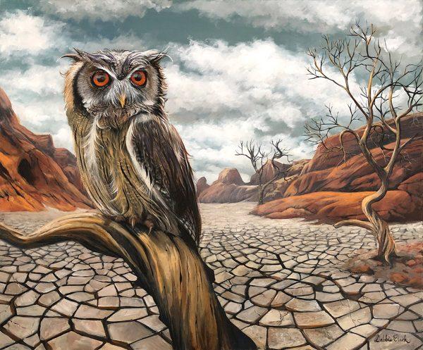 desert owl painting