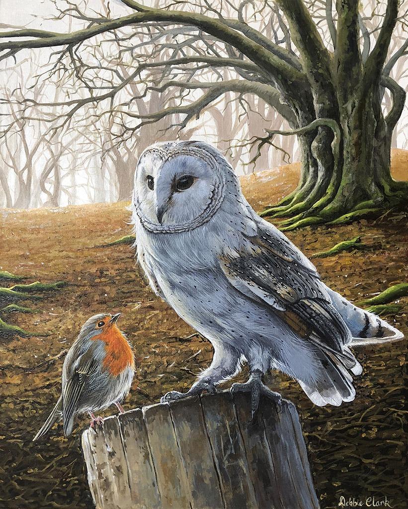 barn owl and robin painting