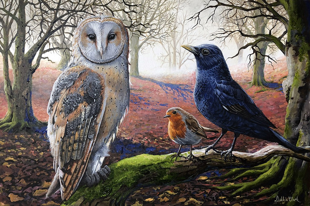 woodland birds painting
