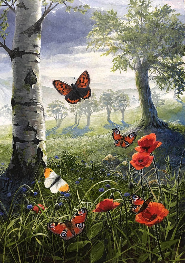 butterflies and poppies painting