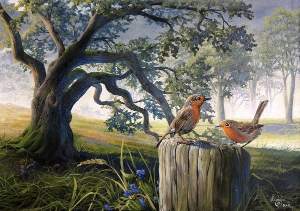 Robins by the Oak Tree