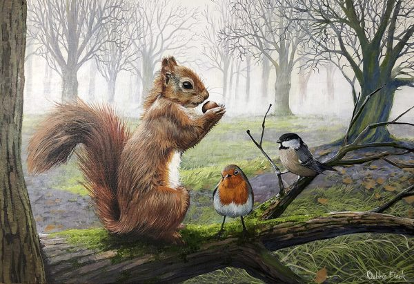 Red Squirrel and birds painting